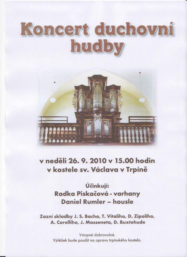 Plakát na nedělní koncert v Trpíně